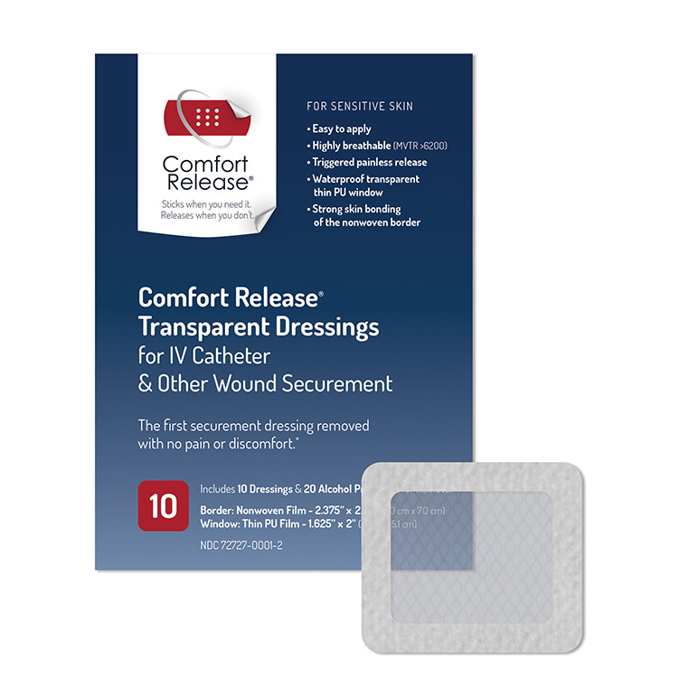 Comfort Release Transparent Dressings for IV Catheter & Other Wound Securement